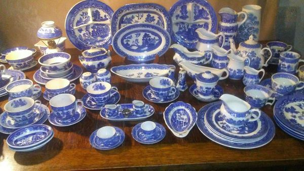 Antique Blue Willow Dishes various marks
