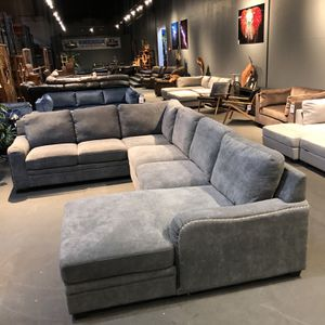 New & In Stock! Grey Nailhead Sofa Sectional & Chaise $1599! for Sale in Vancouver, WA
