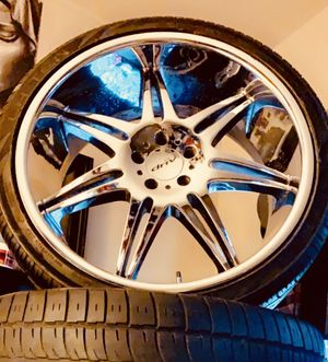 22 inch rims with tires 5 lug up for trade for Sale in Anaheim, CA