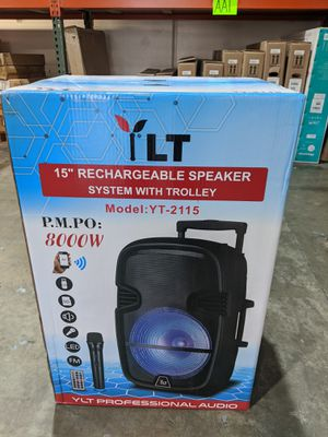 "NEW UNOPENED Dual 15"" 8000watts Rechargeable Speaker Party Stereo Karaoke System with Trolley for Sale in Montclair, CA"