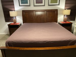 Bedroom set .Price 200$ .One king bed frame and 2 matching night stands. You pick up. Thank you. for Sale in Federal Way, WA