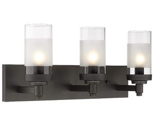 Emliviar 3-Light Bathroom Vanity Light Fixtures, Oil Rubbed Bronze Finish with Clear Frosted Glass Shade, JE1982-3W ORB for Sale in Los Angeles, CA