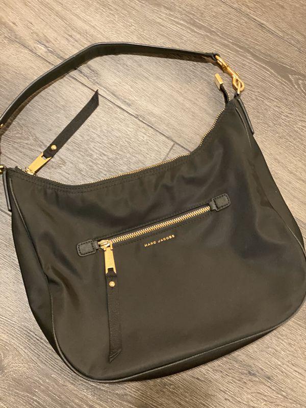 Marc Jacobs Trooper Nylon Satchel - black - gold trim - handbag purse shoulder bag