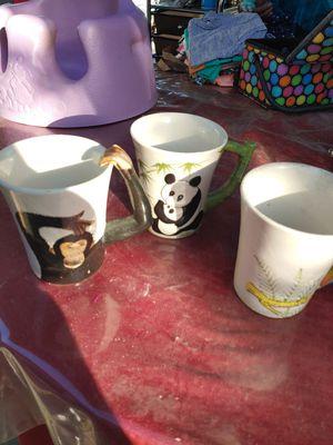 Set of 3 safari coffee cups for Sale in Selma, CA