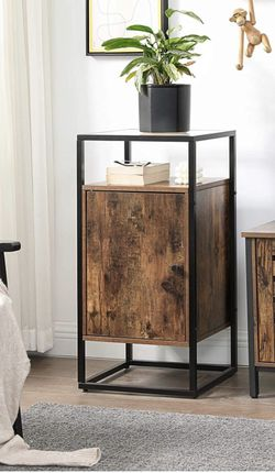 GLATAL Side Table, End Table with Tempered Glass Top, Inside Adjustable Shelf, Sturdy Steel Frame, for Living Room, Entryway, Bedroom, Industrial, Rus for Sale in Corona,  CA