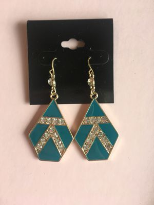 Forever 21 teal diamond earrings for Sale in Oak Lawn, IL