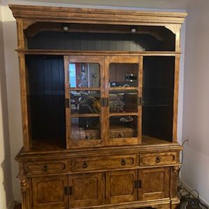 China Cabinet / 2 Piece Wall Unit With Storage Book Case / Canted for Sale in Humble, TX