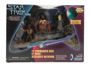 Vintage (1990's) Star Trek: The Next Generation, Playmates Action Figure, Hologram Series Set with Lt. Commander Data, Lt. Worf & Alexander Rozhenko for Sale in Hamilton Township, NJ