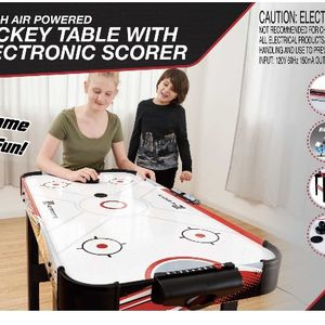 MD Sports Easy assembly 48inch Air powered hockey Table, Compact Storage, Foldable Legs, Red/black for Sale in Los Angeles, CA