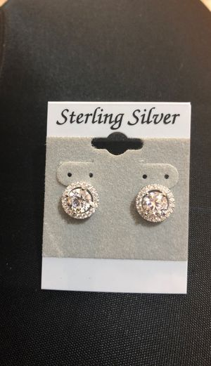 Sterling silver high quality halo studs for Sale in Great Neck, NY
