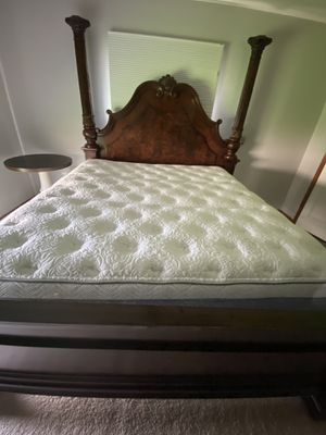 California King Canopy Bed and dressed with mirror for Sale in Clinton Township, MI