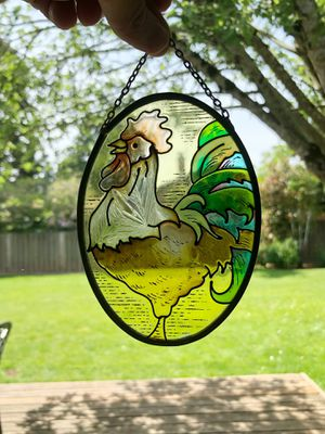 Oval stained glass rooster wall hanging for Sale in Hillsboro, OR