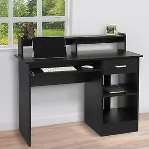 Wood Laptop PC Table with Drawer Shelf in Black Home Office Furniture for Sale in Los Angeles, CA