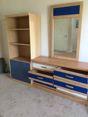 Child's chest with mirror ( interchangeable drawer fronts blue, white, red, black)and drawer with shelves unit for Sale in Katy, TX