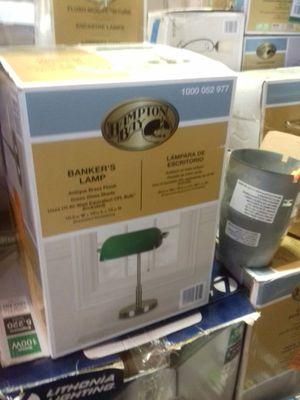 Hampton Bay Bankers lamp antique brass finish for Sale in Phoenix, AZ