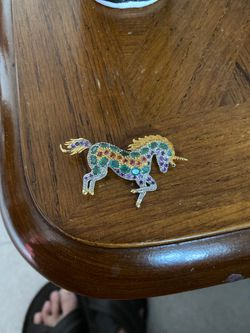 Gem /gold plated solid sterling silver unicorn brooch for Sale in Revere,  MA