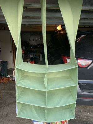 Green closet organizers with bins (2) for Sale in Irwin, PA