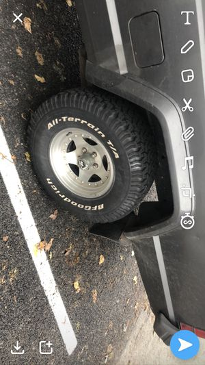 BFG A/T on 5x 4.5 wheels, fits xj cherokee and tj jeep for Sale in Seattle, WA
