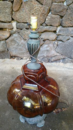 Large Mid Century Amber Glass Brass Table Lamp for Sale in Honolulu, HI