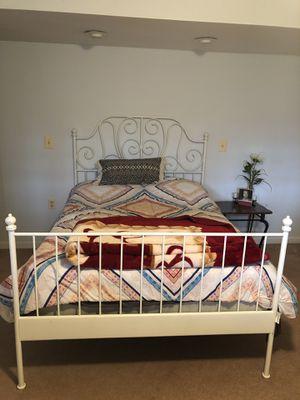 White Metal bed (frame, box spring, mattress) full size for Sale in Manassas, VA