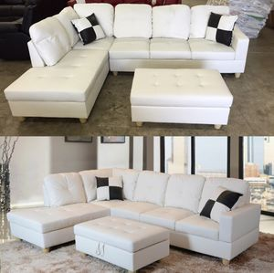 Sofa new white leatherette sectional couch on sealed box with ottoman and pillows unopened unused PAYMENT UPON DELIVERY for Sale in Portland, OR