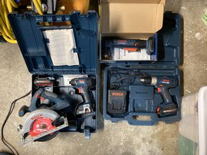 Bosch 18V litheon tools (drill, impact driver, right angle drill, and circular saw) for Sale in Seattle, WA