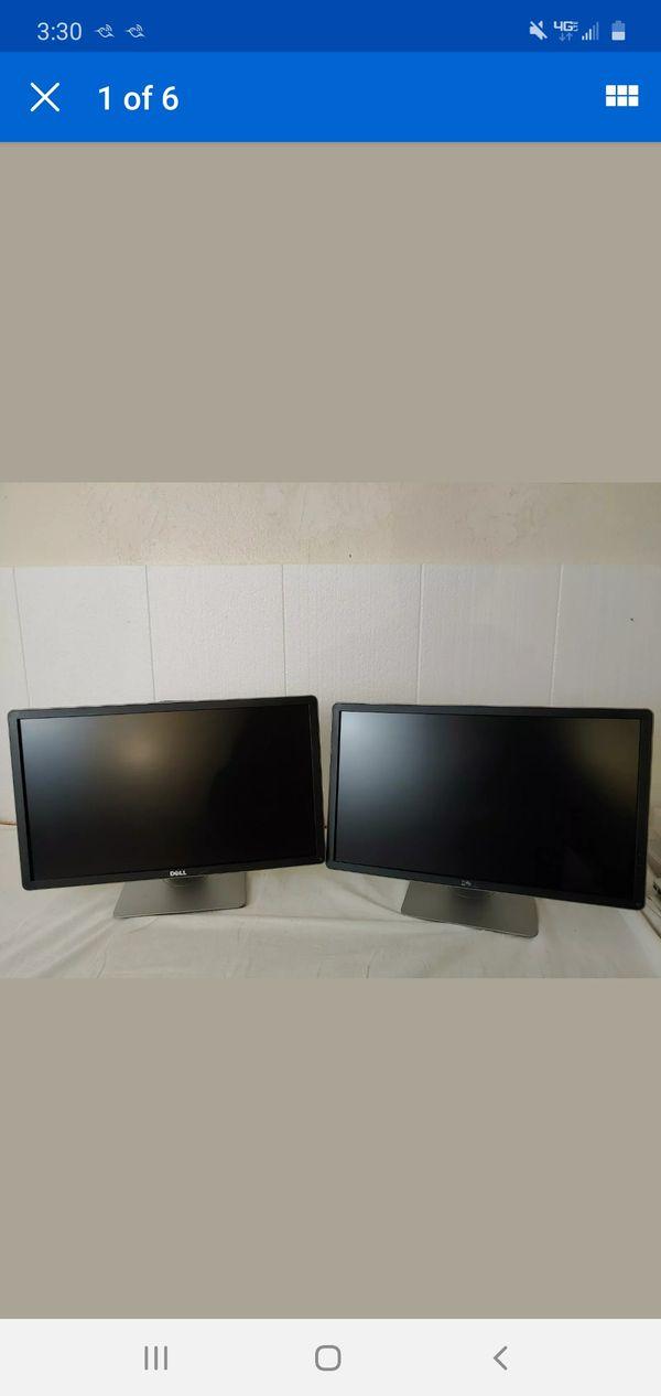 "PAIR OF Dell P2414H 24"" Widescreen 1920x1080 FHD LED LCD Monitor DP DVI VGA"