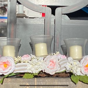 Silk Flower Arrangement . 3 Vases with Candle Surrounded by silk flowers and Ribbons. for Sale in Henderson, NV