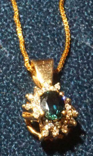 14K GOLD PENDANT WITH TOURMALINE/SAPPHIRE AND DIAMONDS for Sale in Phoenix, AZ