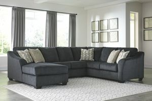 No credit needed Ashley Furniture slate color contemporary design 3-piece sectional with accent pillows for Sale in College Park, MD