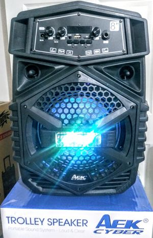 AeK SPEAKER/ 8- inch. BLUETOOTH/ KARAOKÉ/ AUX. FMRadio /TFCARD. Batterie Rechargeable. Control.Remoto. inc. for Sale in Moreno Valley, CA
