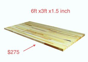 6 ft. L x 3 ft. D x 1.5 in. T Island Butcher Block Countertop in Unfinished Poplar for Sale in Dallas, TX
