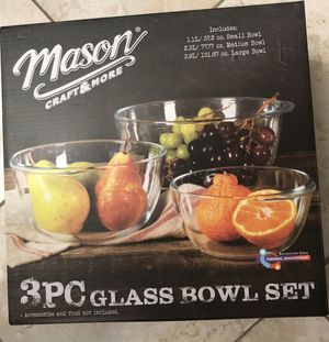 New MASON 3 PIECE GLASS MIXING BOWL SET Freezer/oven/dishwasher friendly (pick up only) for Sale in Alexandria, VA
