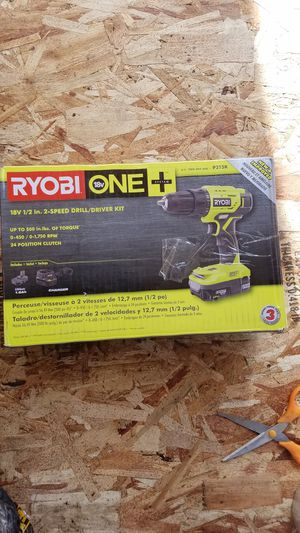 Ryobi 18-Volt ONE+ Lithium-Ion Cordless 1/2 in. Drill/Driver Kit with (1) 1.5 Ah Battery and 18-Volt Charger for Sale in Snohomish, WA