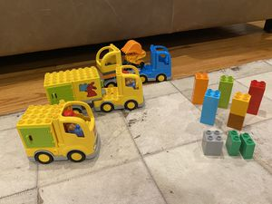 LEGO Duplo set of 3 trucks and blocks for Sale in Los Angeles, CA