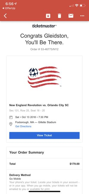 3 tickets New England revolution vs Orlando city Saturday for Sale in Sherborn, MA