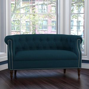 Peacock Blur Huntingdon Chesterfield Three Post Love Seat for Sale in San Francisco, CA