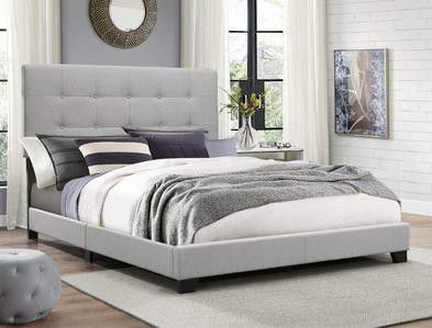 [SPECIAL] Florence Gray Upholstered Queen Bed | 5270