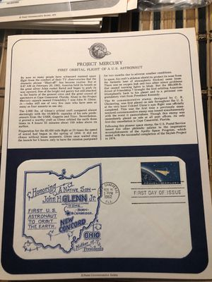 John Glenn FDC Cape Canaveral, FL Canceled February 20, 1962 On a Story Card Suitable for Framing for Sale in Pine Hill, NJ