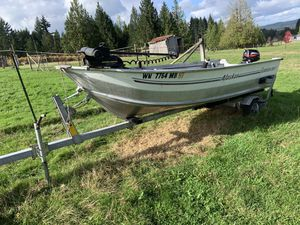 15 ft Alaskan smoker craft boat and trailer for Sale in Chehalis, WA