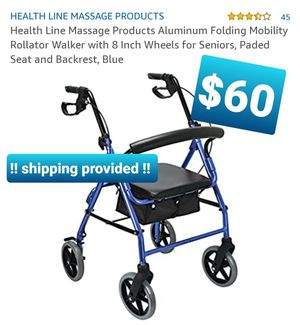 Health Line Massage Products Aluminum Folding Mobility Rollator Walker with 8 Inch Wheels for Sale in Pomona, CA