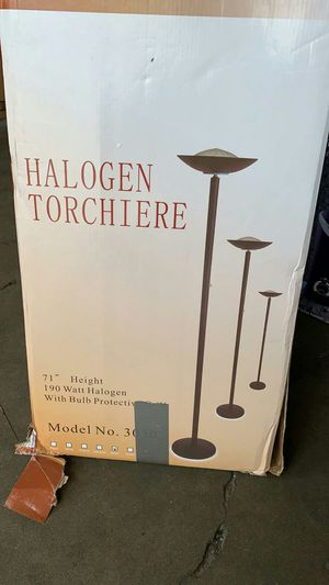 Q-Max White Metal 71-inch Torchiere Floor Lamp for Sale in Houston, TX