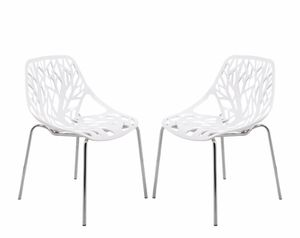 Leisuremod Modern Asbury Dining Chairs With Chromed Legs, Set of 4, White for Sale in Washington, DC