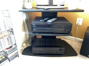 Yamaha receiver/ Kenwood 5 CD player / Yamaha subwoofer / 3 tier stand / 2 sets of Bose cube speakers for Sale in Bordentown, NJ