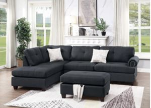 Brand New! Black Luxury Sectional with Ottoman 2 Accent Pillows for Sale in Orlando, FL