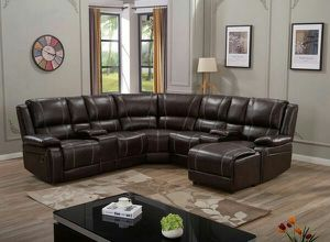 Brown or Black leather reclining sectional w/cup holders for Sale in Marietta, GA