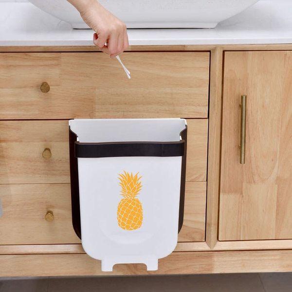 Hanging Trash can for Kitchen Cabinet, Folding Waste Bin, Collapsible Trash