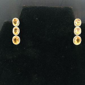 Ross Simons Citrine and Diamond Drop Earrings - MINT for Sale in Austin, TX