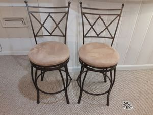 Brown metal stools with comfortable tan velour seat for Sale in Evanston, IL