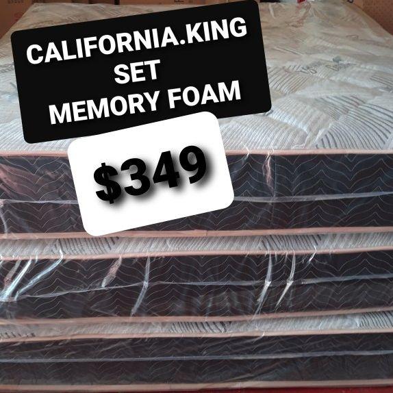 CALIFORNIA KING MEMORY FOAM MATTRESS AND BOX SPRING
